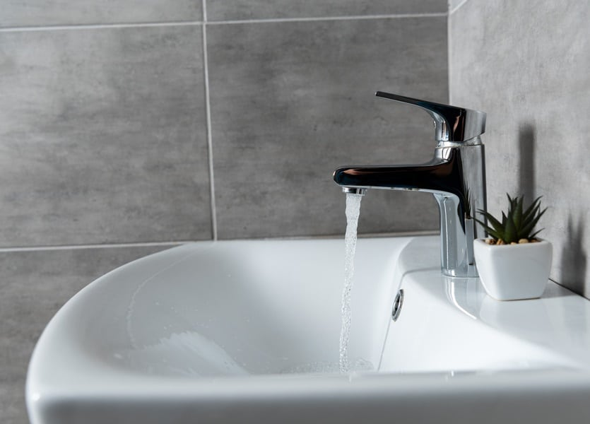Water flow from faucet